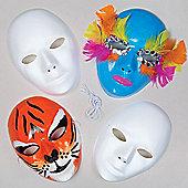 White Plastic Face Masks (Pack of 6)