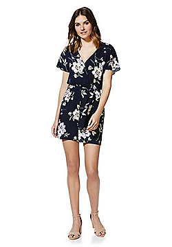 F&F Floral Print Wrap Front Playsuit - Navy