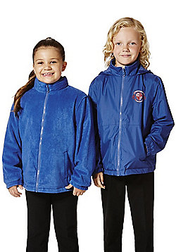 Unisex Embroidered Reversible School Fleece Jacket - Royal blue