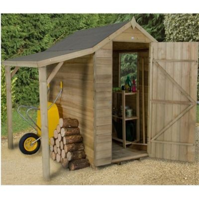 6 x 4 Rock Pressure Treated Overlap Apex Wooden Garden Shed With Lean To - Assembled 6ft x 4ft (1.83m x 1.22m)