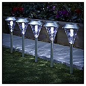 Tesco 5 Glass Stainless Steel Solar Stake Lights