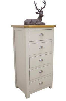Aspen Painted Sage Grey Oak Chest Of Drawers / 5 Drawer Tall Chest