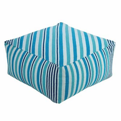 Homescapes Large Blue and White Striped Filled Beanbag Cube