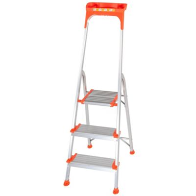 Trade Aluminium 3 Tread Wide Comfort Platform Step Ladder
