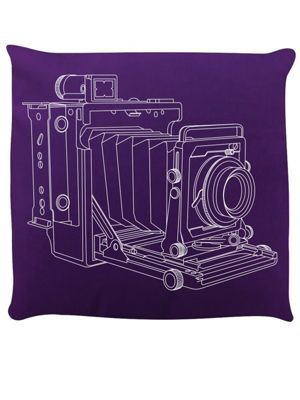 Vintage Camera Purple Cushion 40x40cm