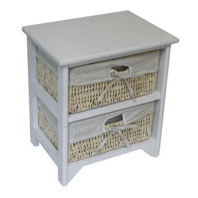 JVL Maize 2 Drawer Wood Cabinet - White