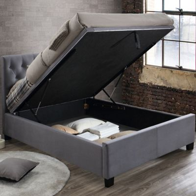 Happy Beds Cologne Velvet Fabric Ottoman Storage Bed with Open Coil Spring Mattress - Grey - 4ft6 Double