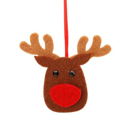 Set Of Two Felt Reindeer Christmas Tree Decorations