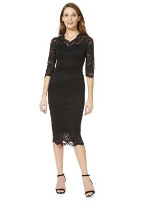 Feverfish Lace Scallop V-Neck Dress Black 18