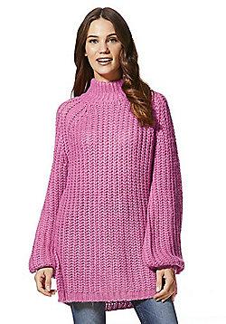 Vero Moda Chunky High Neck Jumper - Pink