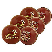 6 X Woodworm Junior Special 4 3/4Oz Cricket Ball Red