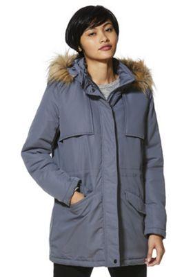 Vila Hooded Parka Jacket Grey S