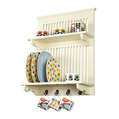 Aston Kitchen Plate Rack - Buttermilk - wall mounted