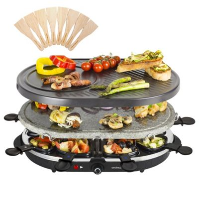 Andrew James Raclette Grill Set 2 in 1 with 8 Individual Pans & Wooden Spatulas