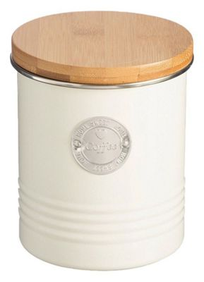Typhoon Living Coffee Metal Canister with Wooden Lid in Cream