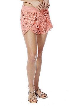 F&F Crochet Lace Beach Shorts - Peach