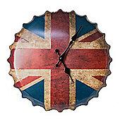 Union Jack GB Flag Bottle Cap Metal Wall Clock - Red - White - Blue