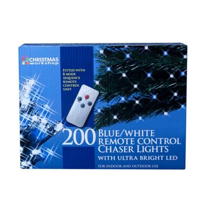 The Christmas Workshop 200 Remote Control LED Chaser Lights, Blue/ White