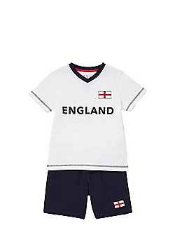 F&F England Football T-Shirt and Shorts Set - White/Navy
