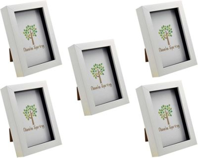 White 4x6 Box Photo Frame - Standing & Hanging - Pack of 5