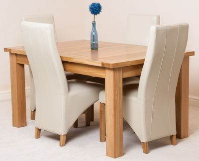 Seattle Solid Oak Extending 150 - 210 cm Dining Table with 4 Ivory Lola Leather Chairs