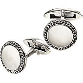 Fred Bennett Sterling Silver Round Chain Detail Edge Cufflinks with a Polished and Oxidised Finish - V524