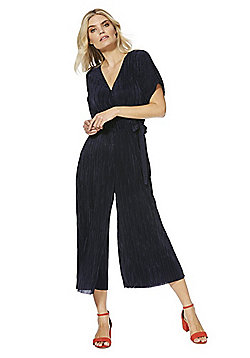 F&F Plisse Tie Side Cropped Jumpsuit - Navy