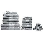 Luxury 100% Cotton 20 Piece Face Hand Bathroom Jumbo Towel Bale Set - Grey