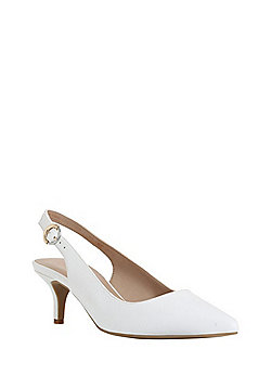 F&F Sensitive Sole Slingback Kitten Heel - White
