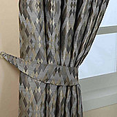 Homescapes Grey Jacquard Curtain Tie Back Pair Geometric Diamond Design