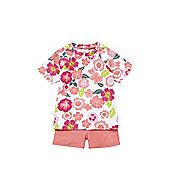 Babeskin Floral UPF 50+ Rash Vest and Shorts Set - Coral