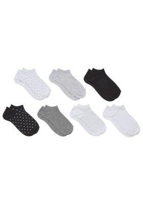 F&F 7 Pair Pack of Monochrome Trainer Socks Black S-M
