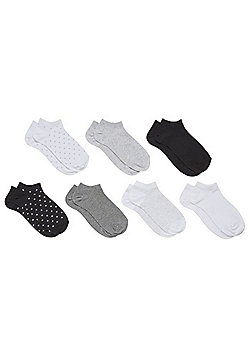 F&F 7 Pair Pack of Monochrome Trainer Socks - Black