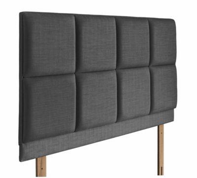 Swanglen Turin Gem Fabric Headboard with Wooden Struts - Granite - Single 3ft