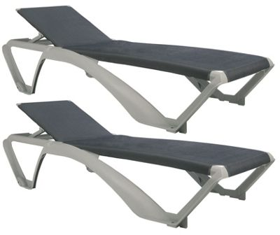 Resol Marina Sun Lounger - White Frame / Blue Jeans Canvas Material x2 Loungers