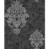 Crown Arabesque Black/Black Wallpaper