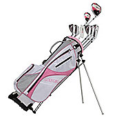 Golfgirl Fws3 Ladies Petitie Complete All Graphite Pink Right Hand Golf Clubs Set W/ Stand