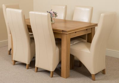 Richmond Solid Oak Extending 140 - 220 cm Dining Table with 6 Ivory Lola Leather Dining Chairs