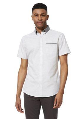 F&F Contrast Collar Slim Fit Short Sleeve Shirt Grey 2XL