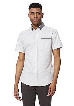 F&F Contrast Collar Slim Fit Short Sleeve Shirt - Grey