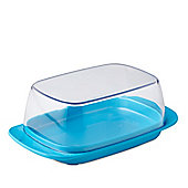 Rosti Mepal Plastic Butter Dish, Clear with Latin Blue Base