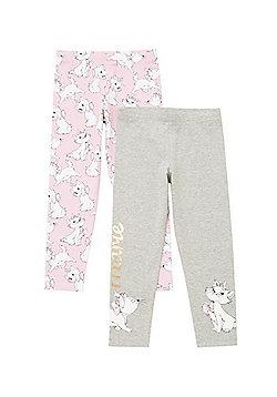 Disney 2 Pack of Marie Leggings - Pink/Grey