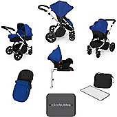 Ickle Bubba Stomp V3 AIO Travel System with 2 x Isofix Base + Mosquito Net Blue (Silver Chassis)