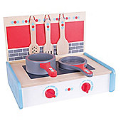 Bigjigs Toys Wooden Portable Cooker with Wooden Pans and Kitchen Utensils - Pretend Play and Role Play for Children