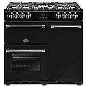 Belling FARM90DFTBK 900mm Dual Fuel Range Cooker, 5 Burners Inc. WOK, Black