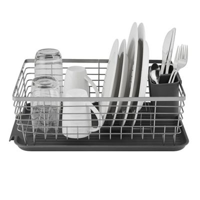Tower Compact Dishrack With Cutlery Holder - Grey