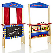 KiddyPlay 2 in 1 Wooden Puppet Theatre and Market Stall