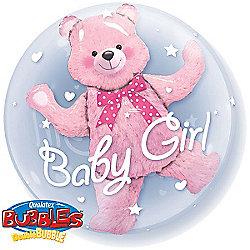 Baby Pink Bear Bubble Balloon - 24inch