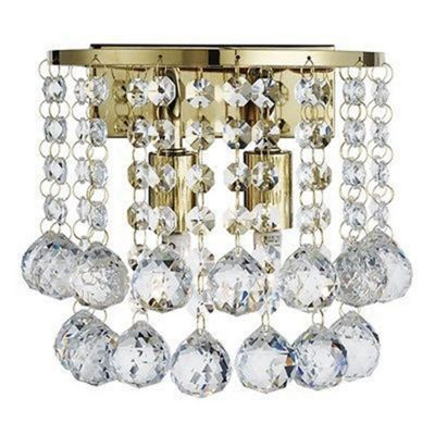 HANNA GOLD 2 LIGHT ROUND WALL LIGHT - CLEAR CRYSTAL BALL