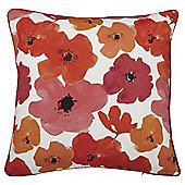 Poppy Print Cushion with Piping